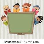 cartoon children reading books... | Shutterstock .eps vector #437441281