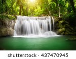 beautiful waterfall with... | Shutterstock . vector #437470945