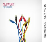 network background. patch cord. ... | Shutterstock .eps vector #437474215