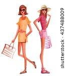 fashion women in summer dress... | Shutterstock .eps vector #437488009