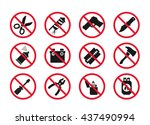 hand baggage prohibited items   ... | Shutterstock .eps vector #437490994