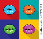 lip symbol pop art style ... | Shutterstock .eps vector #437492191