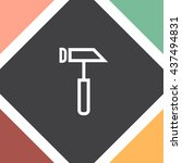 hammer sign line vector icon....