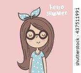 cute cartoon little girls.... | Shutterstock .eps vector #437511991