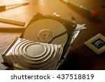 broken and open computer or... | Shutterstock . vector #437518819