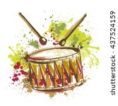 drum with splashes in... | Shutterstock .eps vector #437524159
