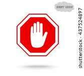 no entry hand sign icon  vector ... | Shutterstock .eps vector #437524897