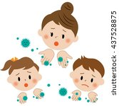 dirty hands  virus mother and... | Shutterstock . vector #437528875