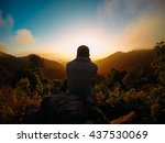 alone man on the top of the... | Shutterstock . vector #437530069