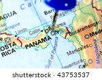 Map of Panama with a blue tag on it - stock photo