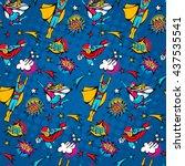 seamless pattern flying... | Shutterstock .eps vector #437535541
