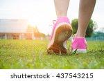 runner woman feet running on... | Shutterstock . vector #437543215