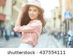 beautiful fashionable woman in... | Shutterstock . vector #437554111