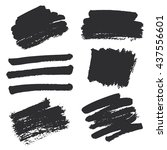 strokes of black ink on... | Shutterstock .eps vector #437556601