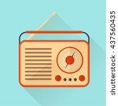 orange vintage radio on... | Shutterstock .eps vector #437560435