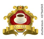 gold color label coffee with... | Shutterstock .eps vector #437564545
