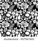 black and white floral pattern | Shutterstock .eps vector #437567641