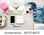 fashion concept.still life of...   Shutterstock . vector #437576875