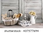 rustic kitchen still life  wire ... | Shutterstock . vector #437577694