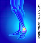 pain and swelling on the inside ... | Shutterstock .eps vector #437579224