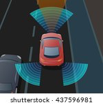 advanced driving assistant... | Shutterstock .eps vector #437596981