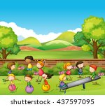 children playing games in the... | Shutterstock .eps vector #437597095