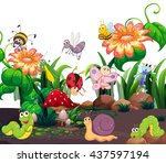 Different insects living in the garden illustration