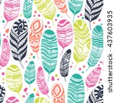 ethnic feathers  seamless... | Shutterstock .eps vector #437603935