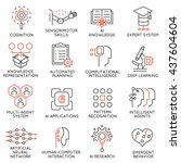 vector set of 16 thin icons... | Shutterstock .eps vector #437604604