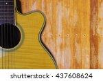 acoustic guitar resting against ... | Shutterstock . vector #437608624