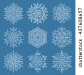 set of white snowflakes. fine... | Shutterstock . vector #437608657