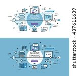 set of modern vector... | Shutterstock .eps vector #437611639