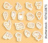 set of summer paper stickers....   Shutterstock .eps vector #437613871