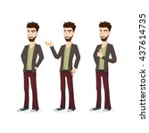 young man with beard. bearded... | Shutterstock .eps vector #437614735
