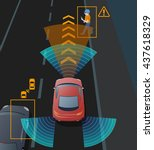 advanced driving assistant... | Shutterstock .eps vector #437618329