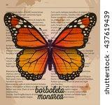 Vector Print Orange Butterfly...