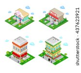 isometric city cafe with tables ... | Shutterstock .eps vector #437623921
