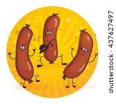 cartoon characters funny... | Shutterstock .eps vector #437627497