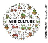 agriculture and farming line... | Shutterstock .eps vector #437628289