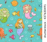 seamless  pattern with cute... | Shutterstock .eps vector #437630491