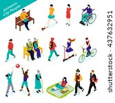city people isometric icons set ... | Shutterstock .eps vector #437632951