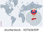 abstract blue world map with...   Shutterstock .eps vector #437636509