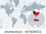 abstract blue world map with... | Shutterstock .eps vector #437636521