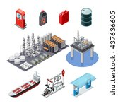 oil industry isometric icons... | Shutterstock .eps vector #437636605