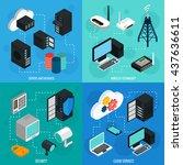 data center 2x2 isometric icons ... | Shutterstock .eps vector #437636611