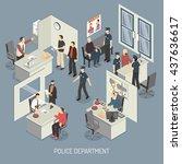 police department isometric... | Shutterstock .eps vector #437636617
