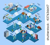 hospital isometric infographics ... | Shutterstock .eps vector #437636647