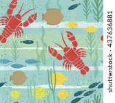 under sea seamless pattern.... | Shutterstock .eps vector #437636881