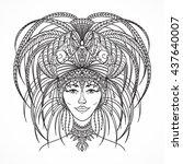 brazilian carnival woman in... | Shutterstock .eps vector #437640007