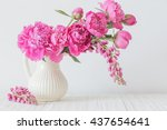 peony flowers in   vase on... | Shutterstock . vector #437654641